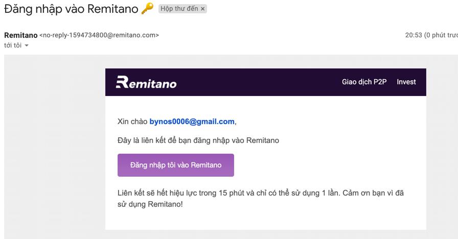 Kích hoạt email đăng ký Remitano